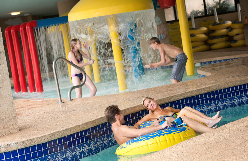 Family on lazy river at Ocean Reef Resort.