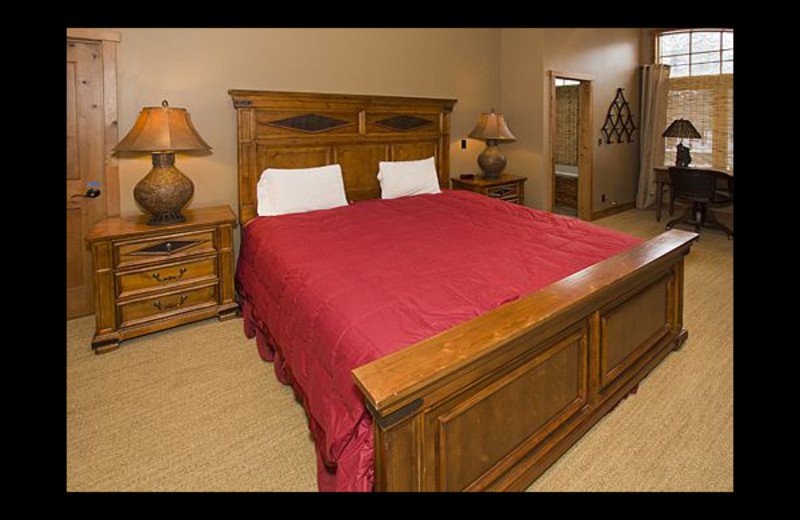 Vacation rental bedroom at Mammoth Property Reservations.