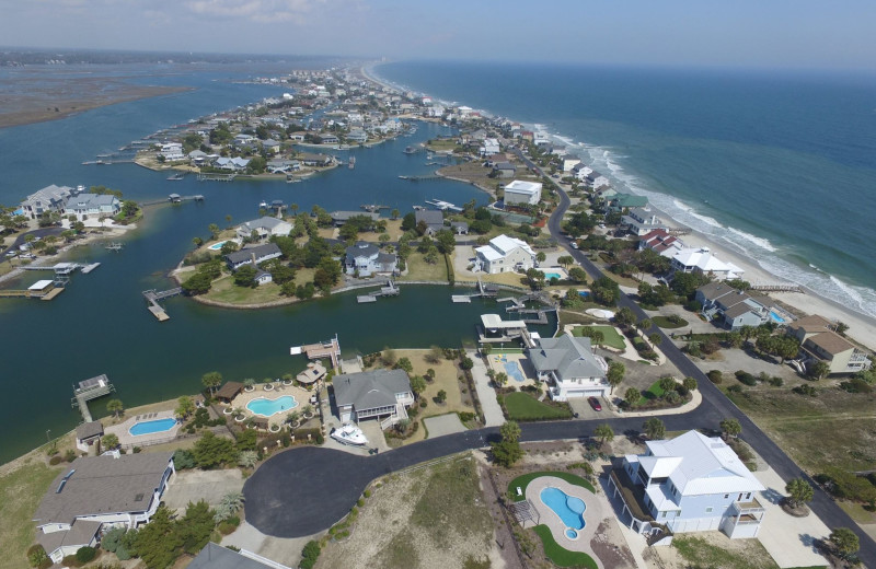 Aerial view of area at Dunes Realty Vacation Rentals.