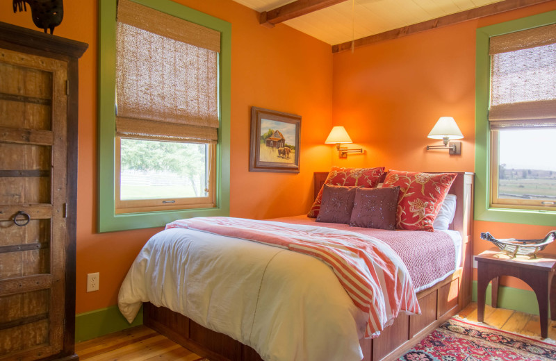 Guest bedroom at Cottonwood Meadow Lodge.