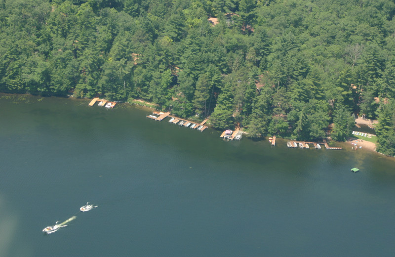Arial view of White Birch Village Resort Shoreline.