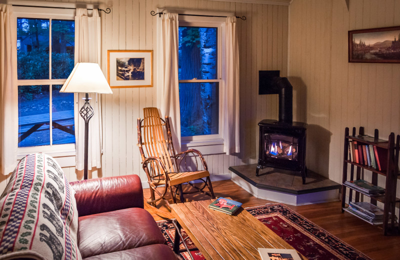 Cabin living room at White Pine Camp.