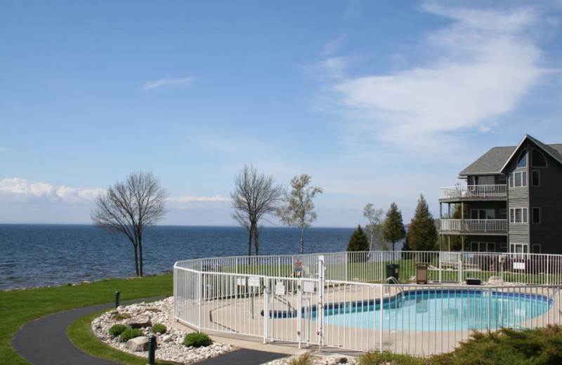 Pool & lake view at Bay Shore Inn.