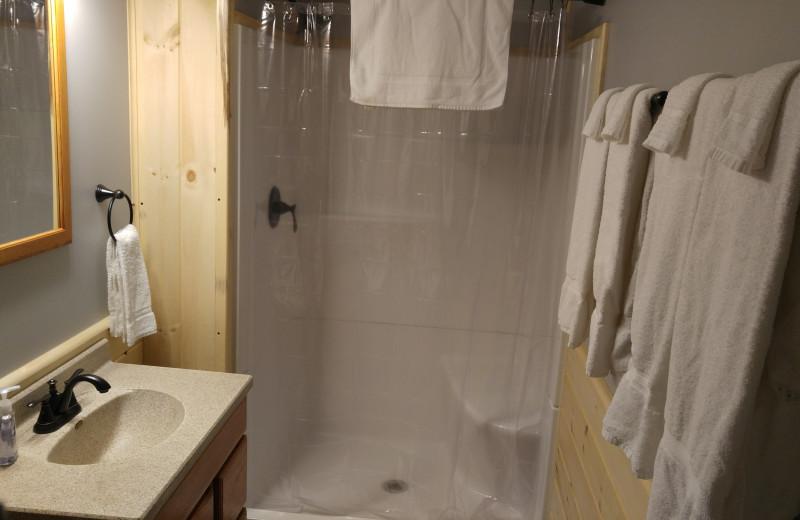 Cabin bathroom at Wilderness Resort.
