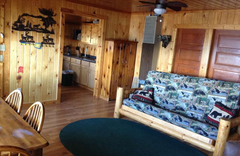 Cabin interior at Cedar Point Resort.