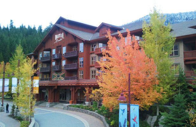 Exterior view of First Tracks Lodge.
