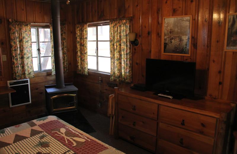 Cabin bedroom at Hidden Rest Resort.