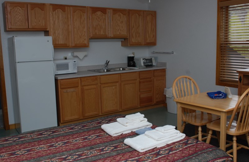 Guest room at Three Rivers Resort & Outfitting.