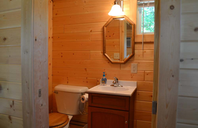 Cabin bathroom at Sand Lake Resort.