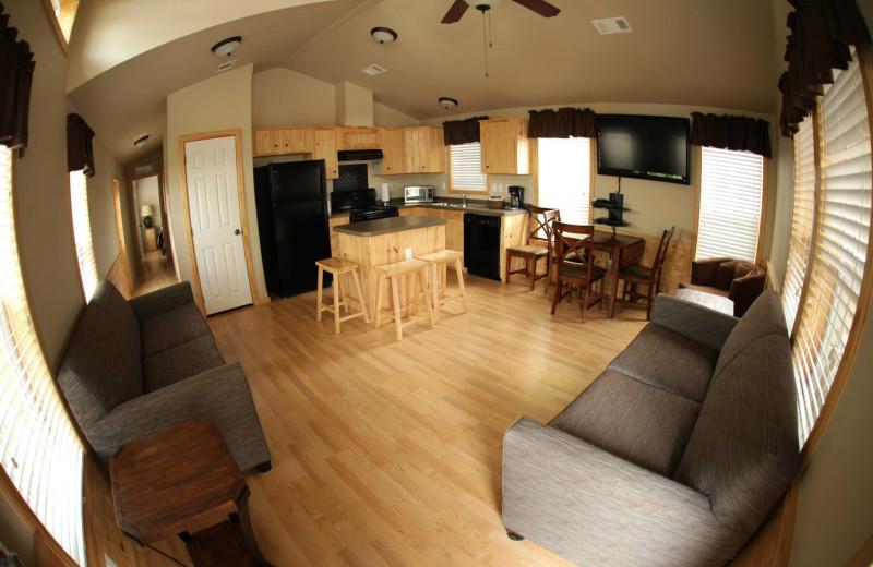 Cottage interior at Hill Country RV Resort & Cottage Rentals.