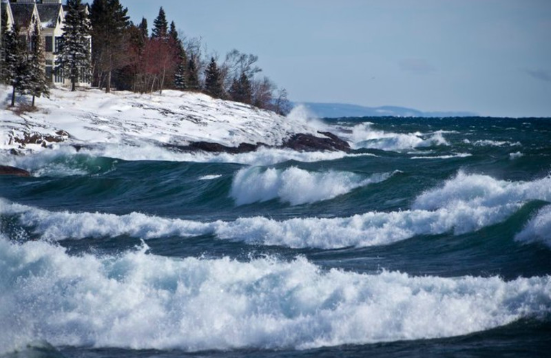 Waves on the lake at Bluefin Bay on Lake Superior.