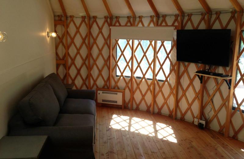 Yurt sitting area at Barefoot Beach Resort.