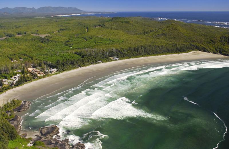 Aerial view of Cox Bay Beach Resort.