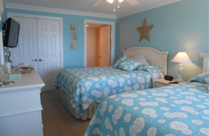 Condominium bedroom at Dolphin Run Condominiums.
