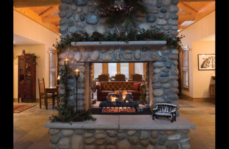 Lobby fire place at Otsego Club and Resort.