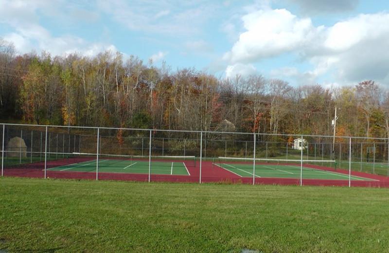 Tennis court at The Woods At Bear Creek Glamping Resort.