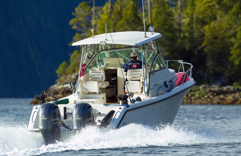 Boating at Nootka Wilderness Lodge.