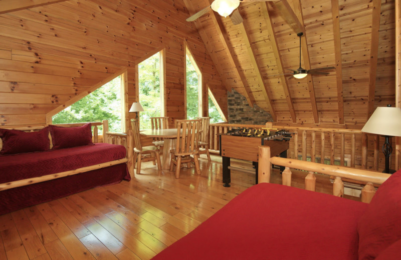 Cabin loft at Cut Above Cabins.