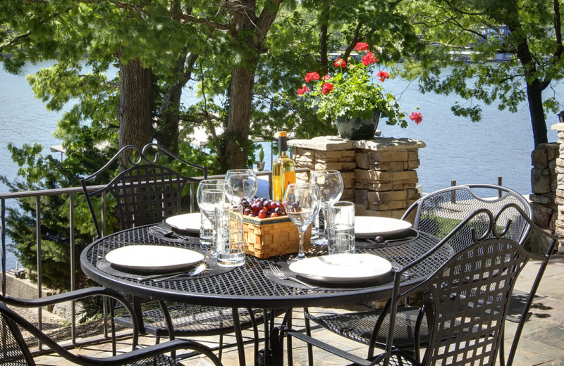 Rental patio at Lake Ozark Vacations.