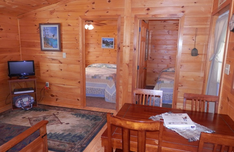 Cabin interior at American Pines Cabins.