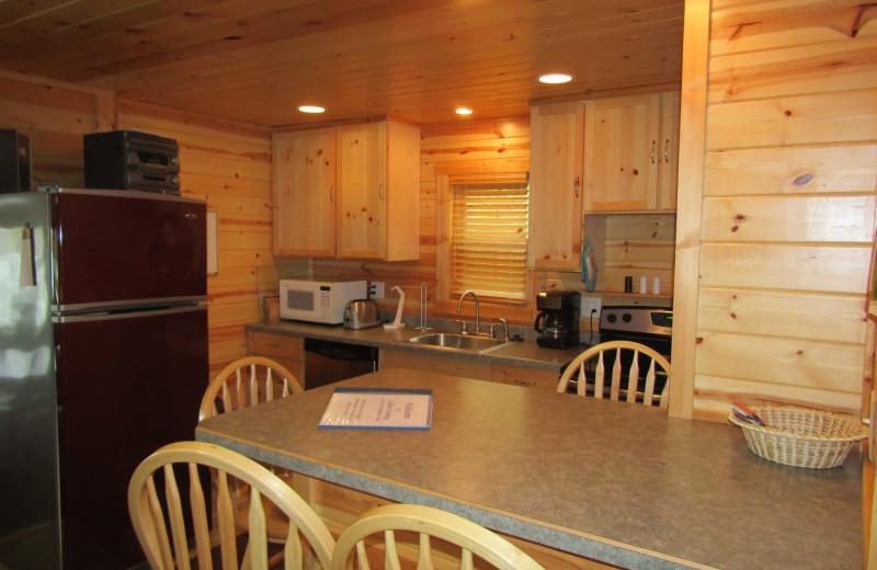 Cabin kitchen at Northwoods Vacation Rentals.