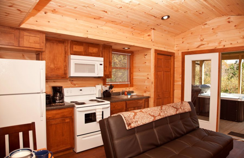 Kitchen area on the one bedroom hot tub cabins at Shawnee Forest Cabins.  Just down the road from Garden of the Gods, IL.