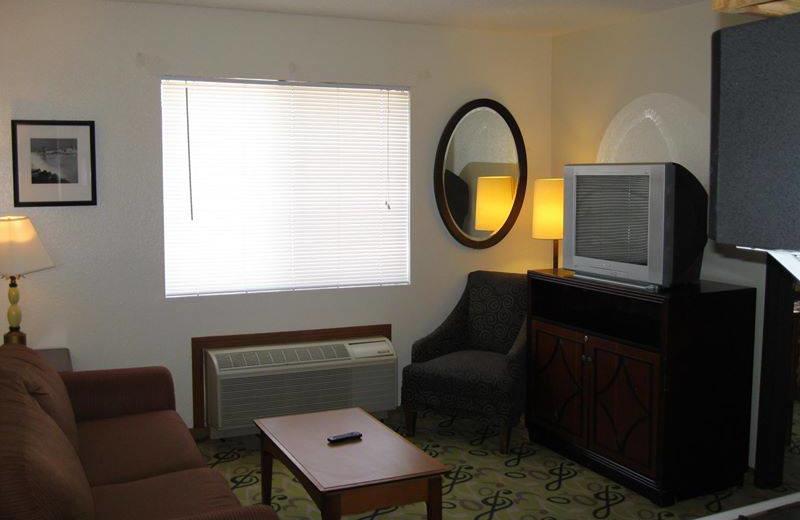 Guest room at Sunrise Suites.