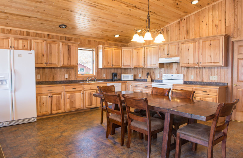 Cabin kitchen at Hiawatha Beach Resort.