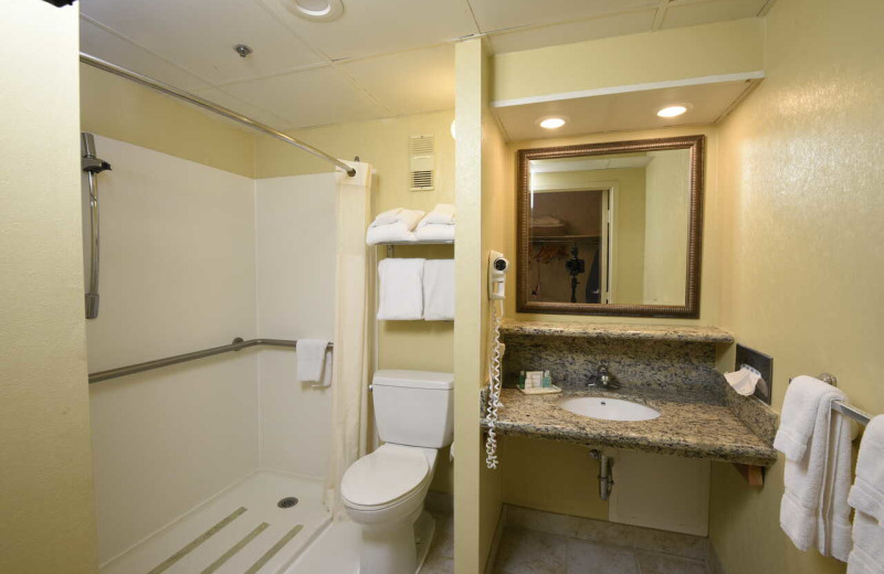 Guest bathroom at Clarion Resort Fontainebleau Hotel.