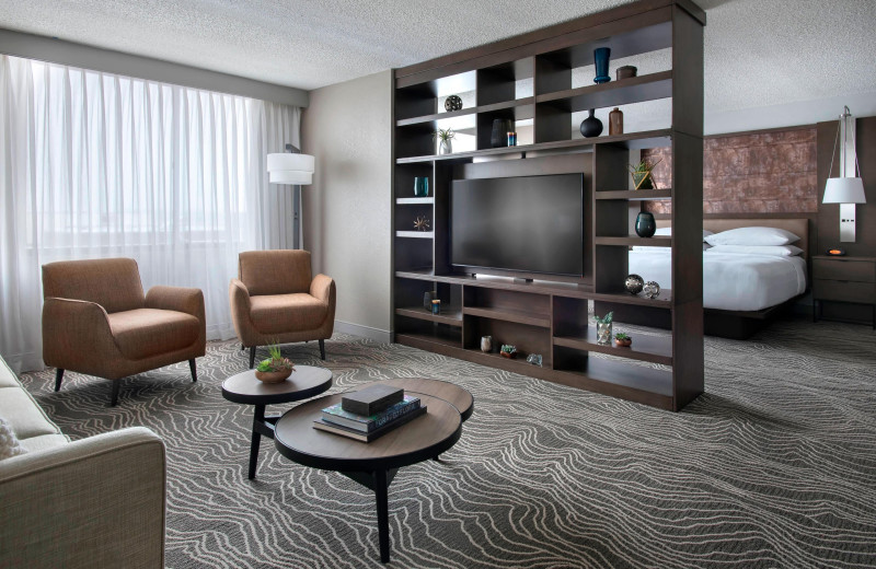 Guest room at Albany Marriott.