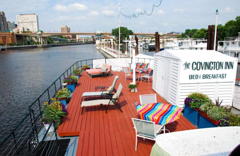Relaxing on deck at Covington Inn.
