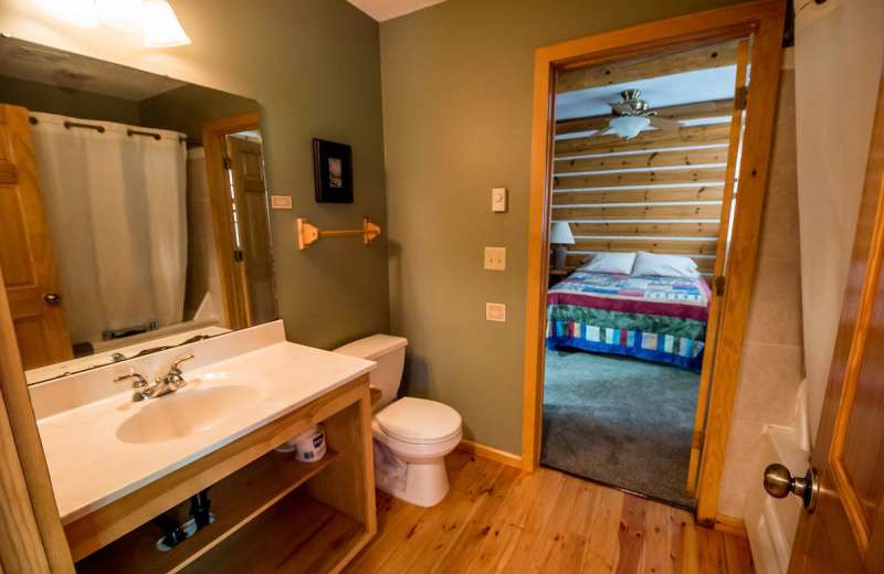 Cabin bathroom at Breezy Point Resort on Straight Lake.