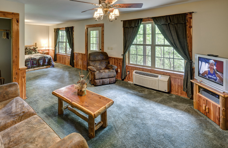 Lower Level features Living area with queen sleeper sofa, 2 queen beds, and a bathroom