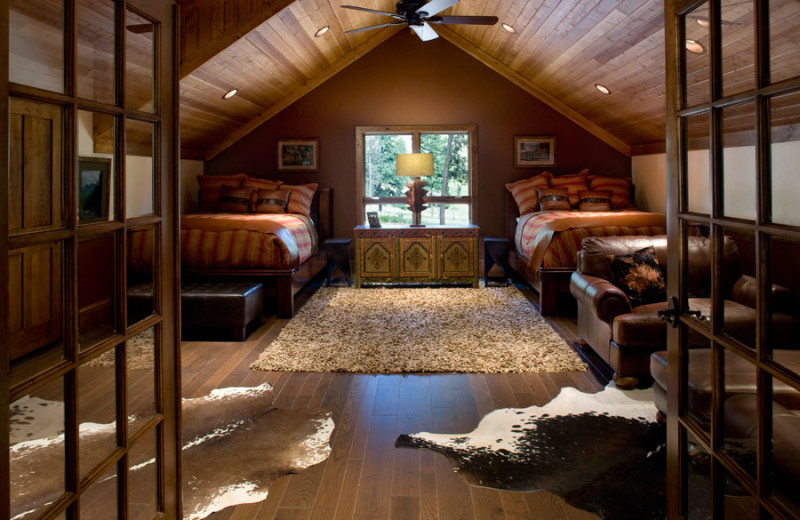 Cabin bedroom at The Resort at Paws Up.