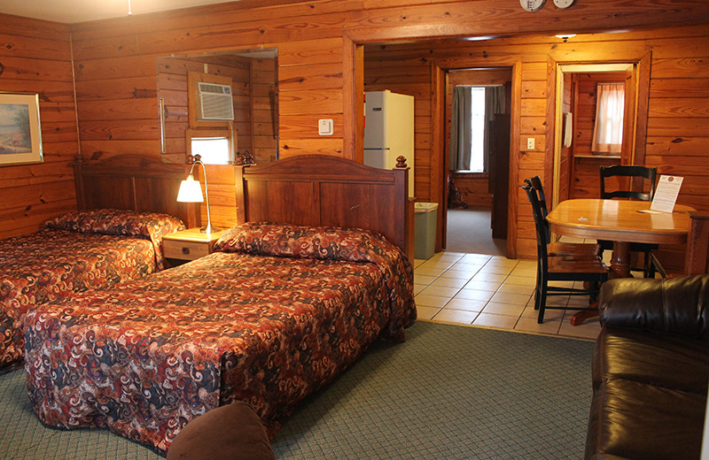 Guest room at Aurora's Kentucky Lake Cottages.