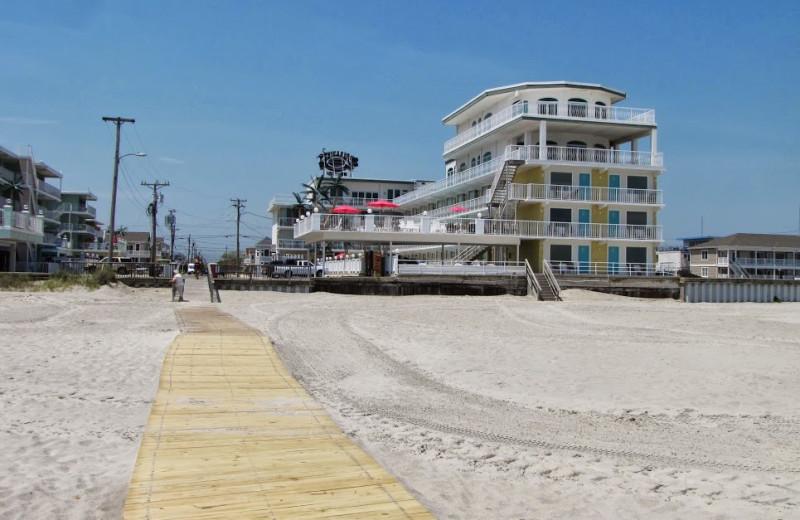 Boardwalk to beach at Paradise Oceanfront Resort.