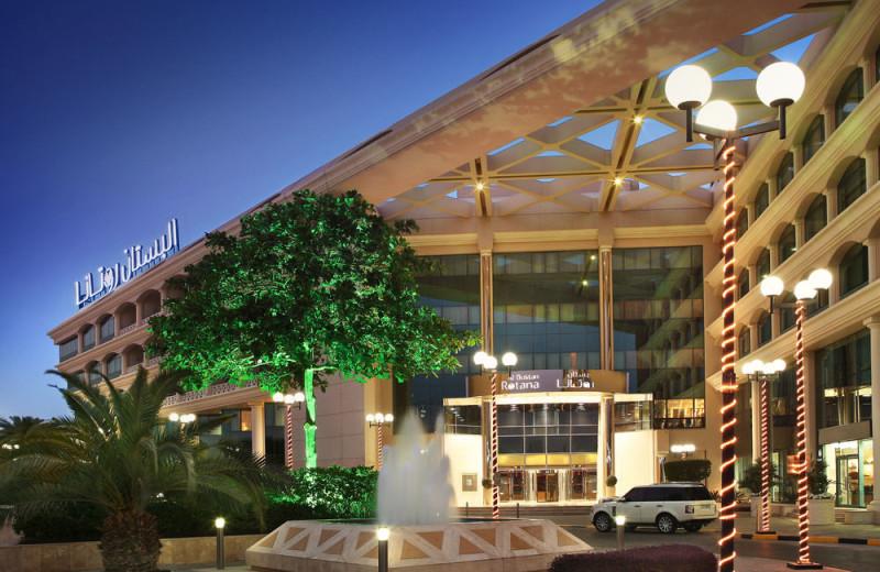 Exterior view of Al Bustan Rotana Hotel.