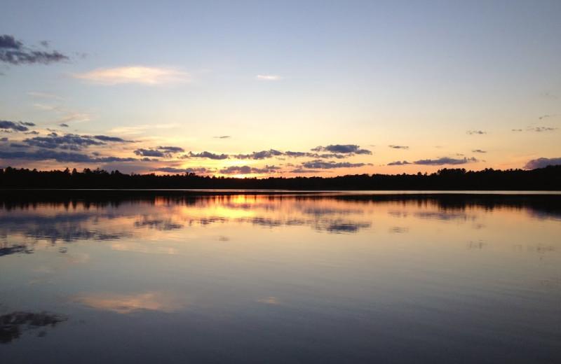 Lake sunrise at Sandy Pines Resort.