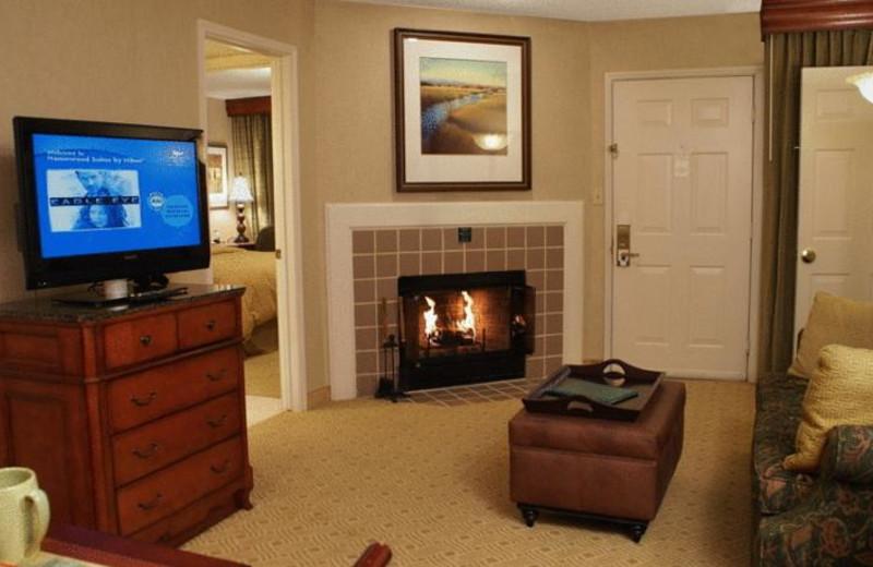 Guest room at Homewood Suites Dallas-Irving/Las Colinas.