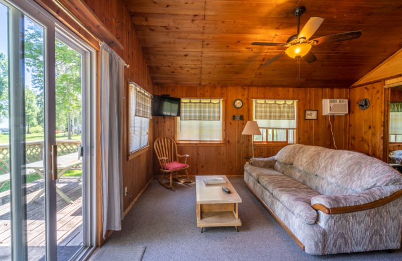 Cabin living room at Rising Eagle Resort.