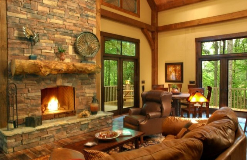 Cottage living room at Timber Frame Rentals.