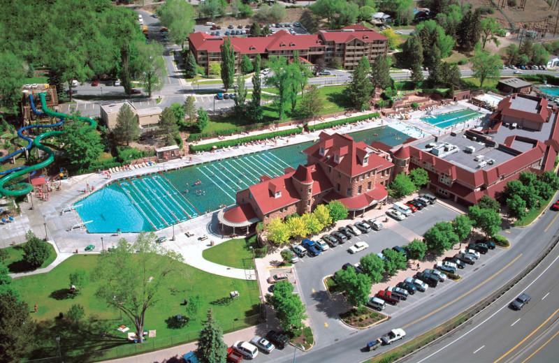 Aerial view of Glenwood Hot Springs.