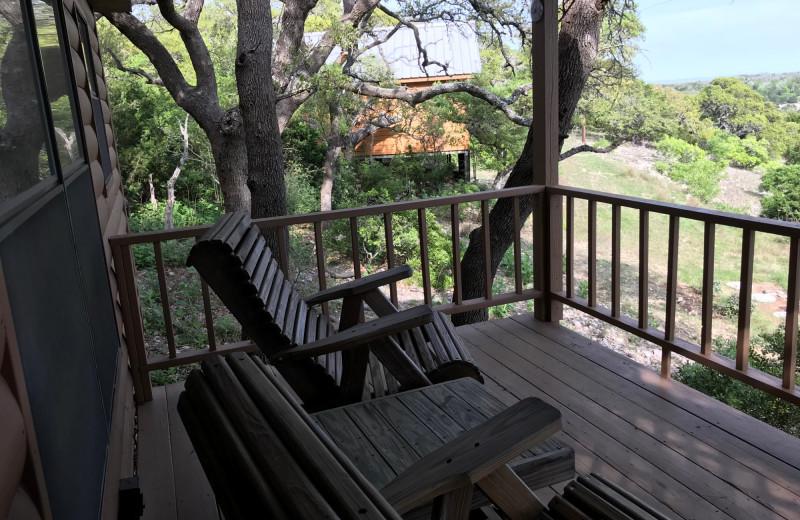 Cabin deck at Walnut Canyon Cabins.