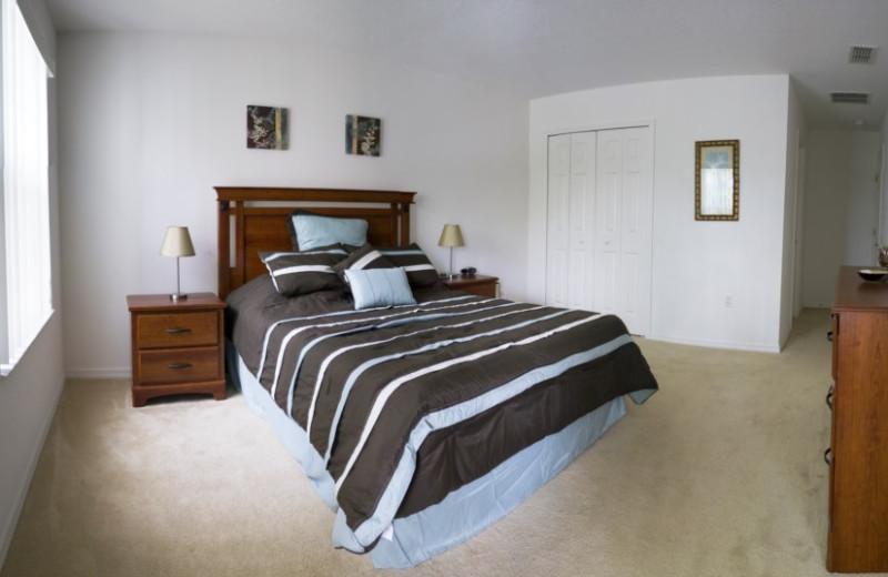 Vacation rental bedroom at Orlando Sunshine Villas.