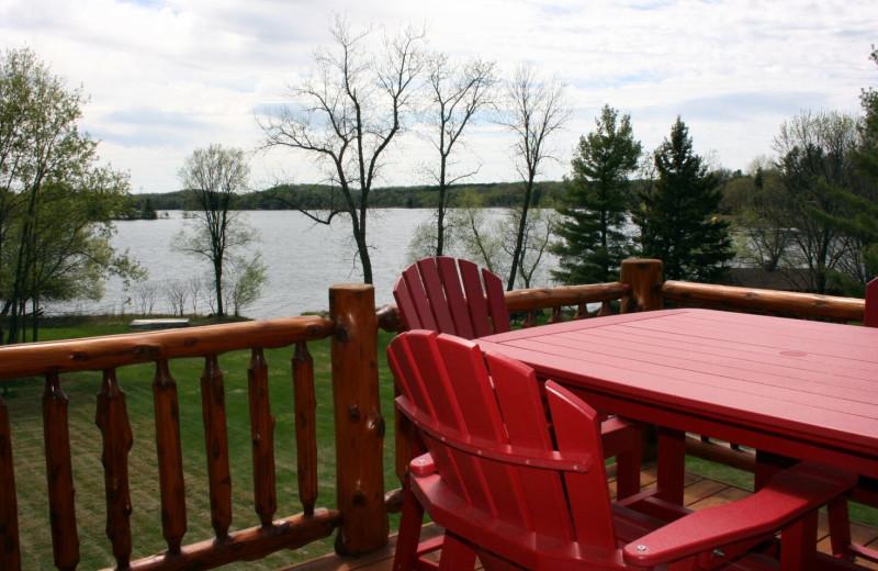 Cabin deck at Ruttger's Bay Lake Lodge.