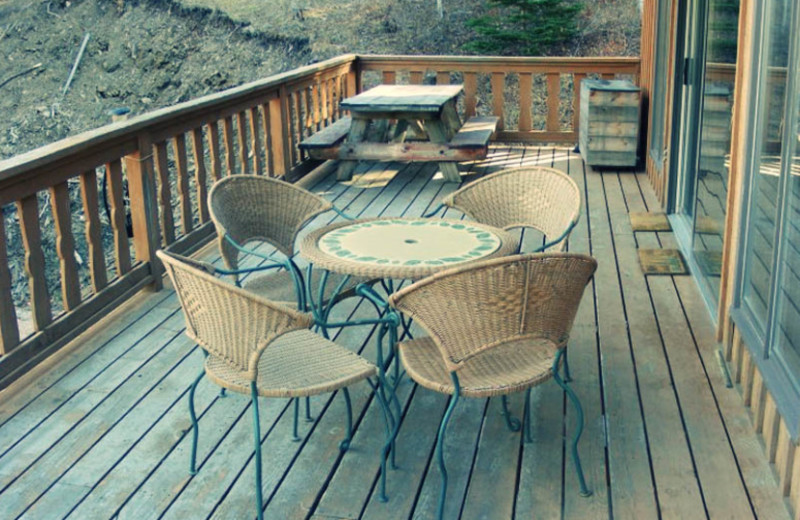 Cabin deck at Edelweiss Mountain Lodging.