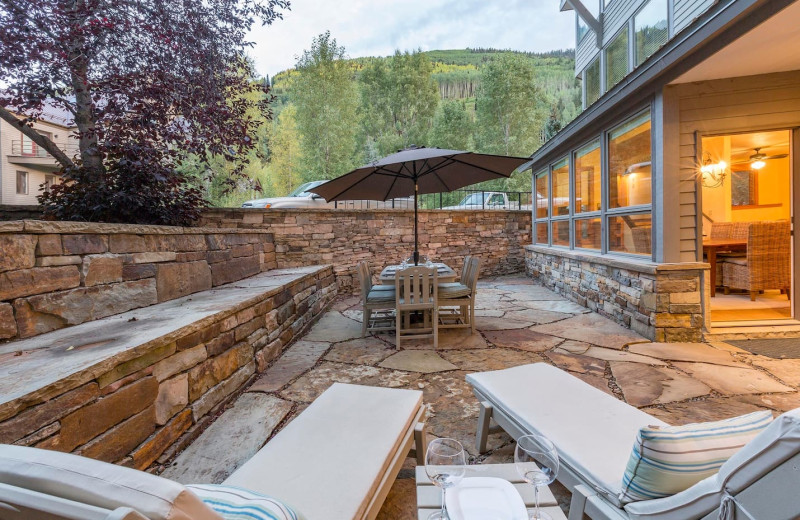 Rental patio at Welcome to Telluride Vacation Rentals.