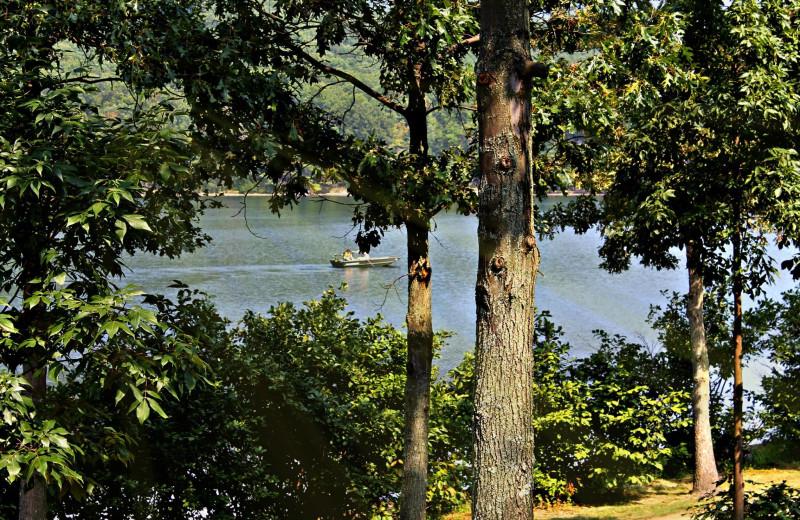 Boating on lake Habeeb at Rocky Gap Casino Resort.