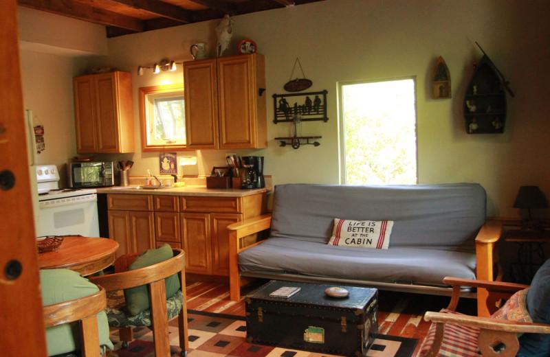 Cabin interior at Creekside Camp & Cabins.