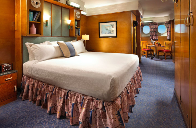 Guest room at Queen Mary Hotel.